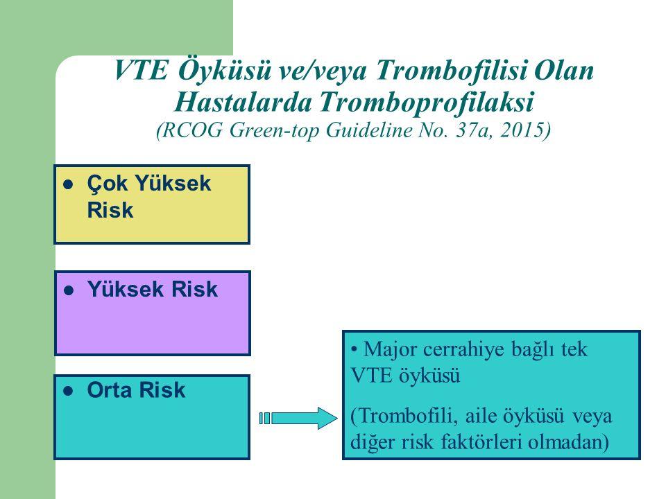 Orta Risk Yüksek Risk Çok Yüksek Risk Major cerrahiye bağlı tek VTE öyküsü (Trombofili, aile öyküsü veya diğer risk faktörleri olmadan) VTE Öyküsü ve/veya Trombofilisi Olan Hastalarda Tromboprofilaksi (RCOG Green-top Guideline No.
