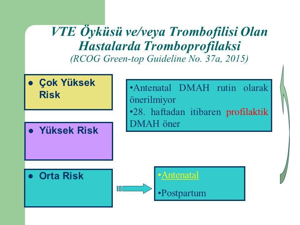 Orta Risk Yüksek Risk Çok Yüksek Risk Antenatal Postpartum Antenatal DMAH rutin olarak önerilmiyor 28.