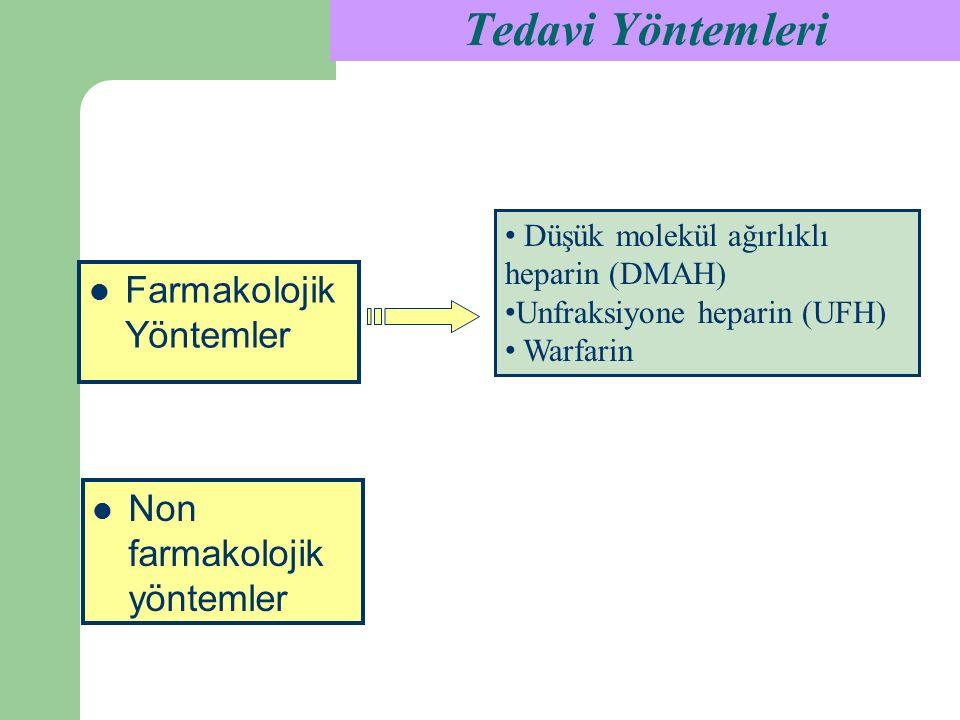 Tedavi Yöntemleri Düşük molekül ağırlıklı heparin (DMAH) Unfraksiyone heparin (UFH) Warfarin Non farmakolojik yöntemler Farmakolojik Yöntemler