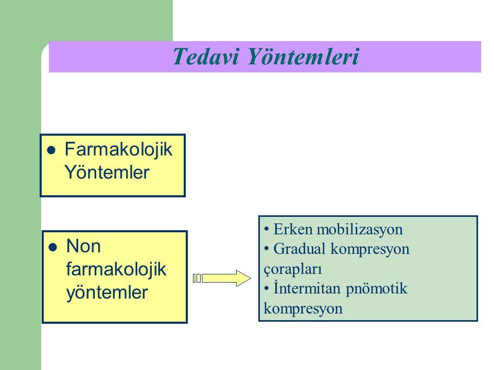Tedavi Yöntemleri Erken mobilizasyon Gradual kompresyon çorapları İntermitan pnömotik kompresyon Non farmakolojik yöntemler Farmakolojik Yöntemler