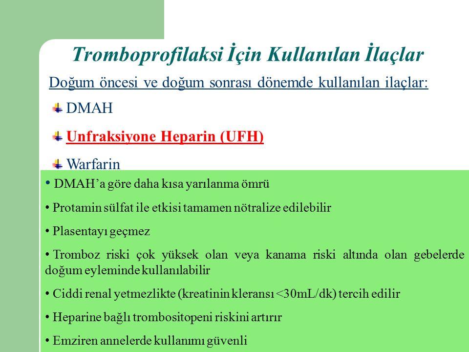 Tromboprofilaksi İçin Kullanılan İlaçlar Doğum öncesi ve doğum sonrası dönemde kullanılan ilaçlar: DMAH Unfraksiyone Heparin (UFH) Warfarin DMAH'a göre daha kısa yarılanma ömrü Protamin sülfat ile etkisi tamamen nötralize edilebilir Plasentayı geçmez Tromboz riski çok yüksek olan veya kanama riski altında olan gebelerde doğum eyleminde kullanılabilir Ciddi renal yetmezlikte (kreatinin kleransı <30mL/dk) tercih edilir Heparine bağlı trombositopeni riskini artırır Emziren annelerde kullanımı güvenli