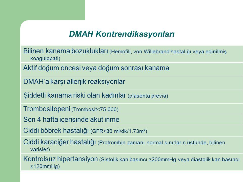 Bilinen kanama bozuklukları (Hemofili, von Willebrand hastalığı veya edinilmiş koagülopati) Aktif doğum öncesi veya doğum sonrası kanama DMAH'a karşı allerjik reaksiyonlar Şiddetli kanama riski olan kadınlar (plasenta previa) Trombositopeni (Trombosit<75.000) Son 4 hafta içerisinde akut inme Ciddi böbrek hastalığı (GFR<30 ml/dk/1.73m²) Ciddi karaciğer hastalığı (Protrombin zamanı normal sınırların üstünde, bilinen varisler) Kontrolsüz hipertansiyon (Sistolik kan basıncı ≥200mmHg veya diastolik kan basıncı ≥120mmHg) DMAH Kontrendikasyonları