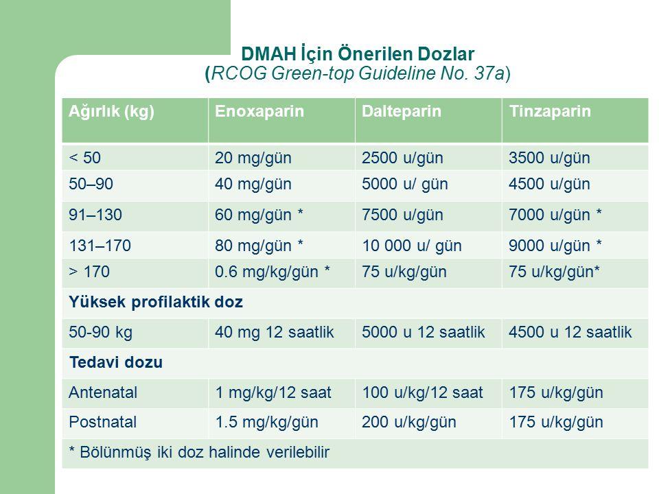 Ağırlık (kg)EnoxaparinDalteparinTinzaparin < 5020 mg/gün2500 u/gün3500 u/gün 50–9040 mg/gün5000 u/ gün4500 u/gün 91–13060 mg/gün *7500 u/gün7000 u/gün * 131–17080 mg/gün *10 000 u/ gün9000 u/gün * > 1700.6 mg/kg/gün *75 u/kg/gün75 u/kg/gün* Yüksek profilaktik doz 50-90 kg40 mg 12 saatlik5000 u 12 saatlik4500 u 12 saatlik Tedavi dozu Antenatal1 mg/kg/12 saat100 u/kg/12 saat175 u/kg/gün Postnatal1.5 mg/kg/gün200 u/kg/gün175 u/kg/gün * Bölünmüş iki doz halinde verilebilir DMAH İçin Önerilen Dozlar (RCOG Green-top Guideline No.