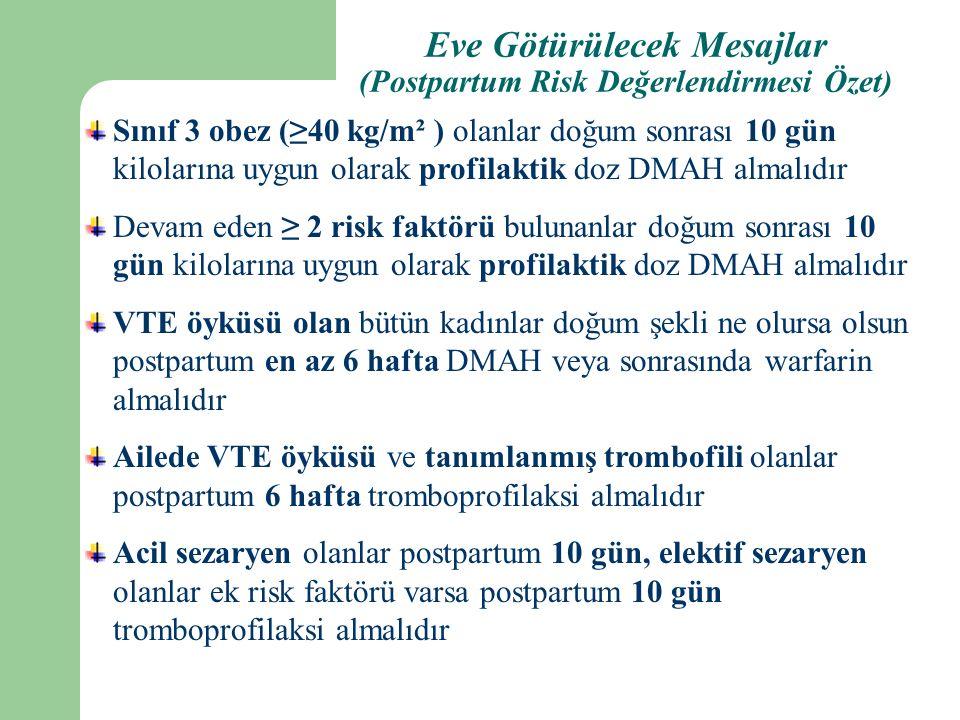 Sınıf 3 obez (≥40 kg/m² ) olanlar doğum sonrası 10 gün kilolarına uygun olarak profilaktik doz DMAH almalıdır Devam eden ≥ 2 risk faktörü bulunanlar doğum sonrası 10 gün kilolarına uygun olarak profilaktik doz DMAH almalıdır VTE öyküsü olan bütün kadınlar doğum şekli ne olursa olsun postpartum en az 6 hafta DMAH veya sonrasında warfarin almalıdır Ailede VTE öyküsü ve tanımlanmış trombofili olanlar postpartum 6 hafta tromboprofilaksi almalıdır Acil sezaryen olanlar postpartum 10 gün, elektif sezaryen olanlar ek risk faktörü varsa postpartum 10 gün tromboprofilaksi almalıdır Eve Götürülecek Mesajlar (Postpartum Risk Değerlendirmesi Özet)