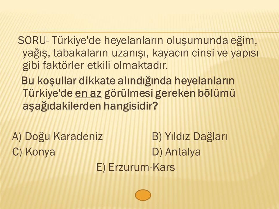 SORU- Türkiye'de heyelanların oluşumunda eğim, yağış, tabakaların uzanışı, kayacın cinsi ve yapısı gibi faktörler etkili olmaktadır. Bu koşullar dikka