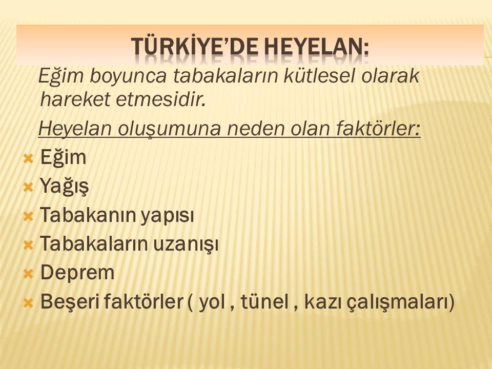  NOT: Heyelan riski en fazla Karadeniz Bölgesinde görülürken en az İç ve Güneydoğu Anadolu Bölgesinde görülür.En çok İlkbahar mevsiminde görülür.