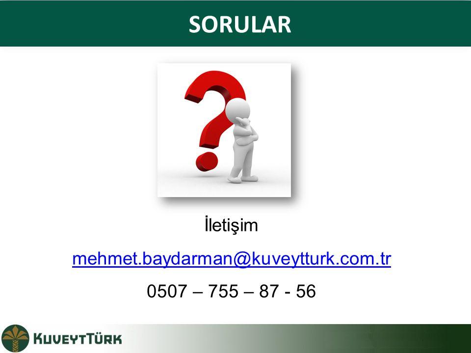 SORULAR İletişim mehmet.baydarman@kuveytturk.com.tr 0507 – 755 – 87 - 56