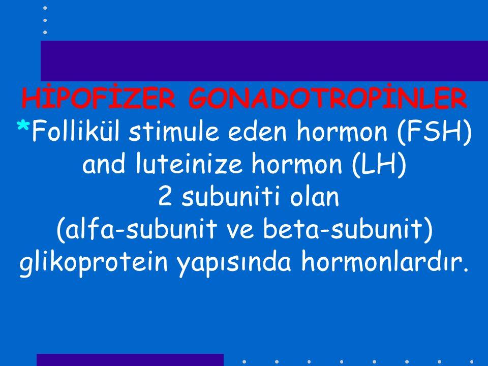 HİPOFİZER GONADOTROPİNLER *Follikül stimule eden hormon (FSH) and luteinize hormon (LH) 2 subuniti olan (alfa-subunit ve beta-subunit) glikoprotein ya