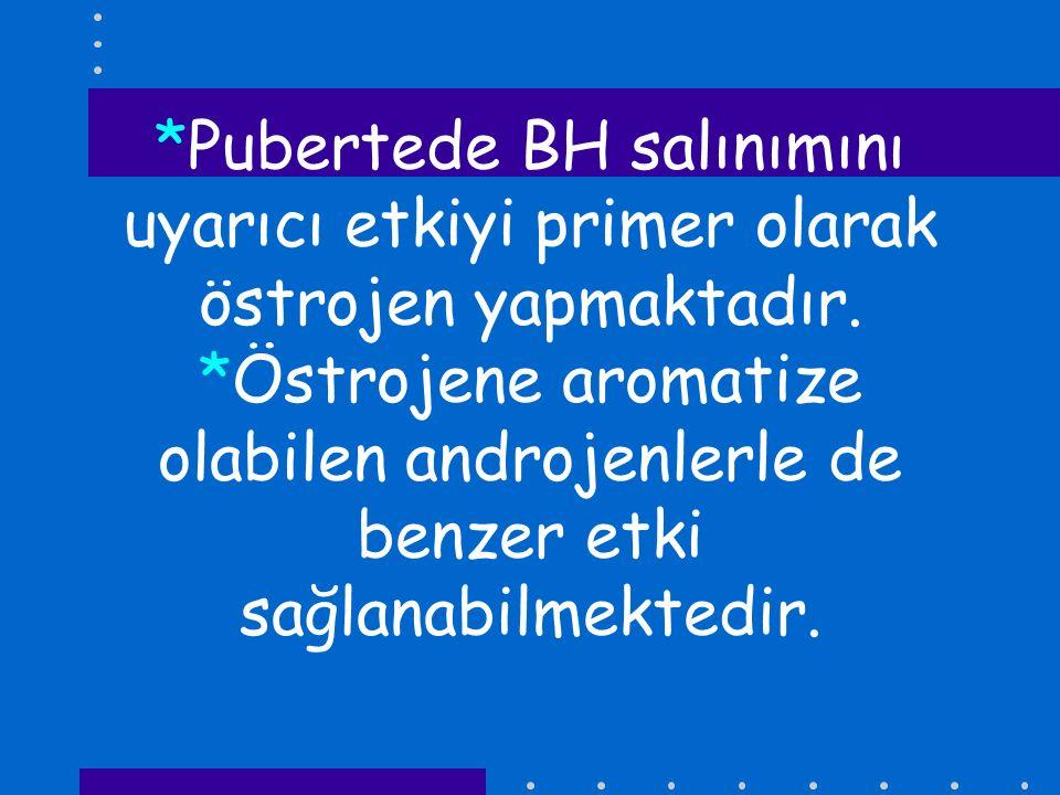 *Pubertede BH salınımını uyarıcı etkiyi primer olarak östrojen yapmaktadır. *Östrojene aromatize olabilen androjenlerle de benzer etki sağlanabilmekte