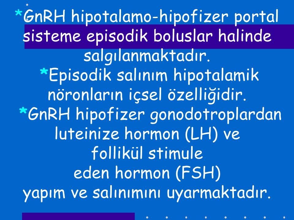 *GnRH hipotalamo-hipofizer portal sisteme episodik boluslar halinde salgılanmaktadır. *Episodik salınım hipotalamik nöronların içsel özelliğidir. *GnR