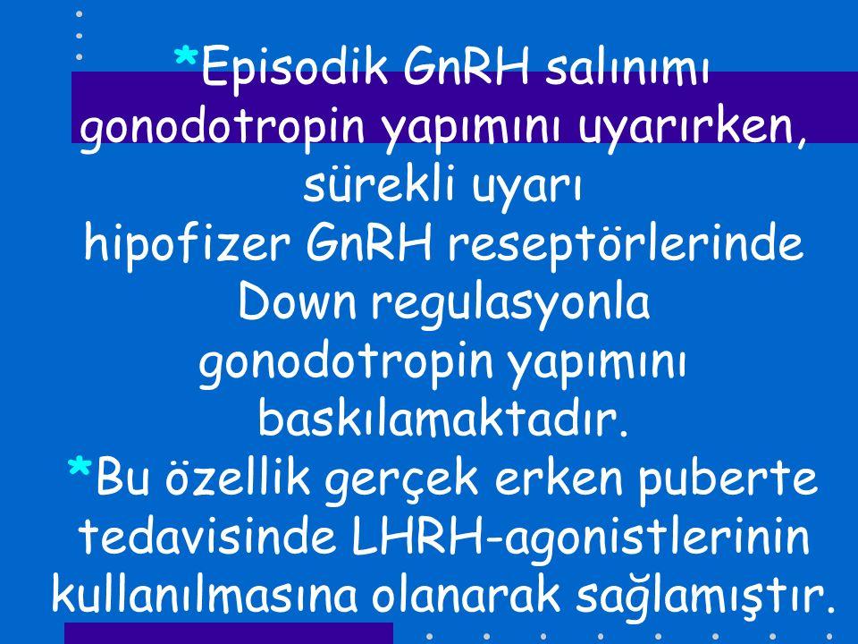 *Episodik GnRH salınımı gonodotropin yapımını uyarırken, sürekli uyarı hipofizer GnRH reseptörlerinde Down regulasyonla gonodotropin yapımını baskılam