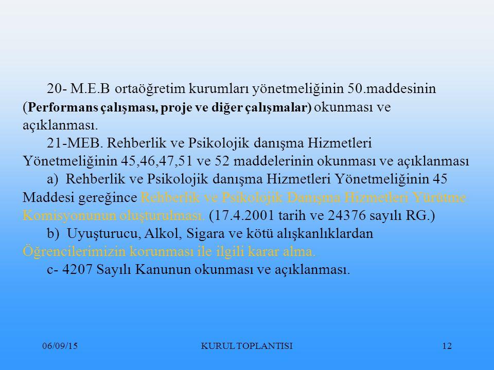 06/09/15KURUL TOPLANTISI12 20- M.E.B ortaöğretim kurumları yönetmeliğinin 50.maddesinin ( Performans çalışması, proje ve diğer çalışmalar) okunması ve açıklanması.