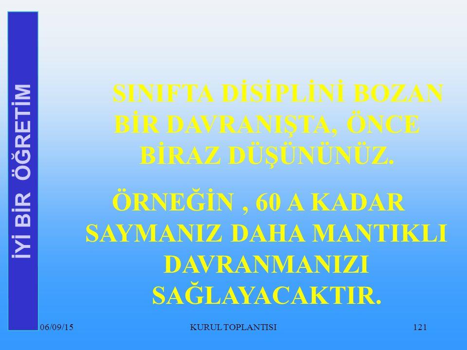 06/09/15KURUL TOPLANTISI121 İYİ BİR ÖĞRETİM SINIFTA DİSİPLİNİ BOZAN BİR DAVRANIŞTA, ÖNCE BİRAZ DÜŞÜNÜNÜZ.