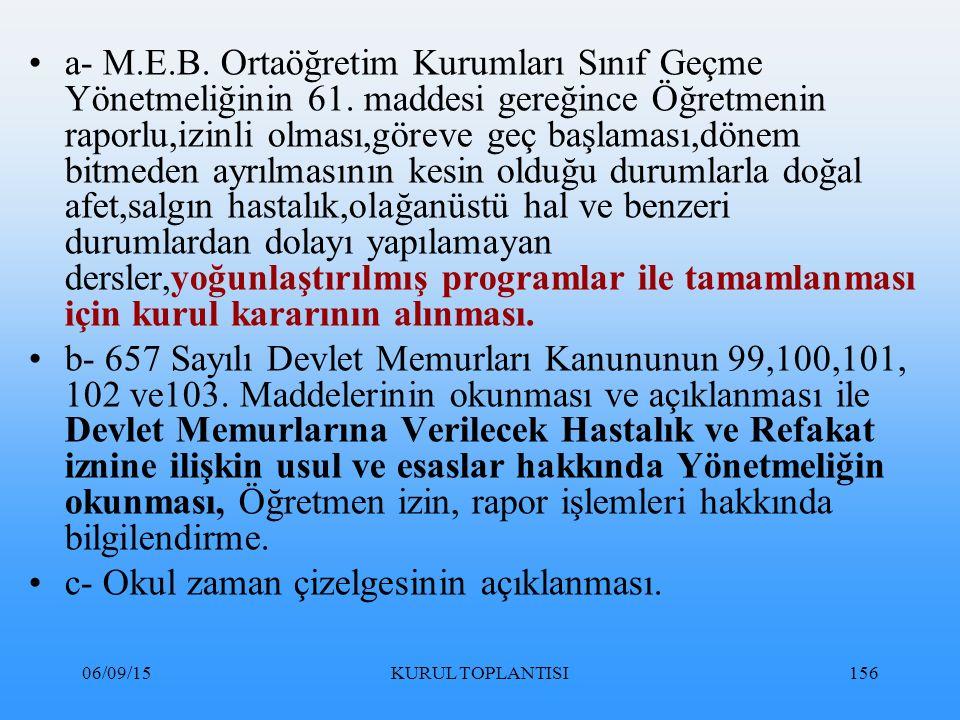 06/09/15KURUL TOPLANTISI156 a- M.E.B.Ortaöğretim Kurumları Sınıf Geçme Yönetmeliğinin 61.