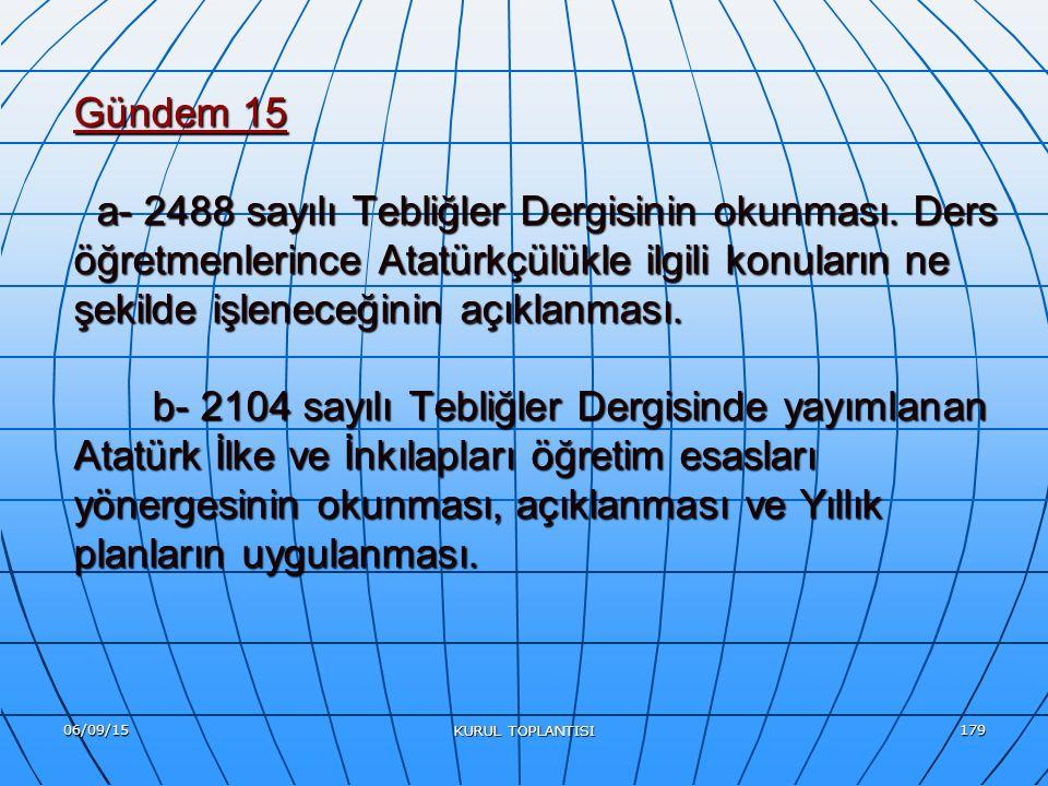 06/09/15 KURUL TOPLANTISI 179 Gündem 15 a- 2488 sayılı Tebliğler Dergisinin okunması.