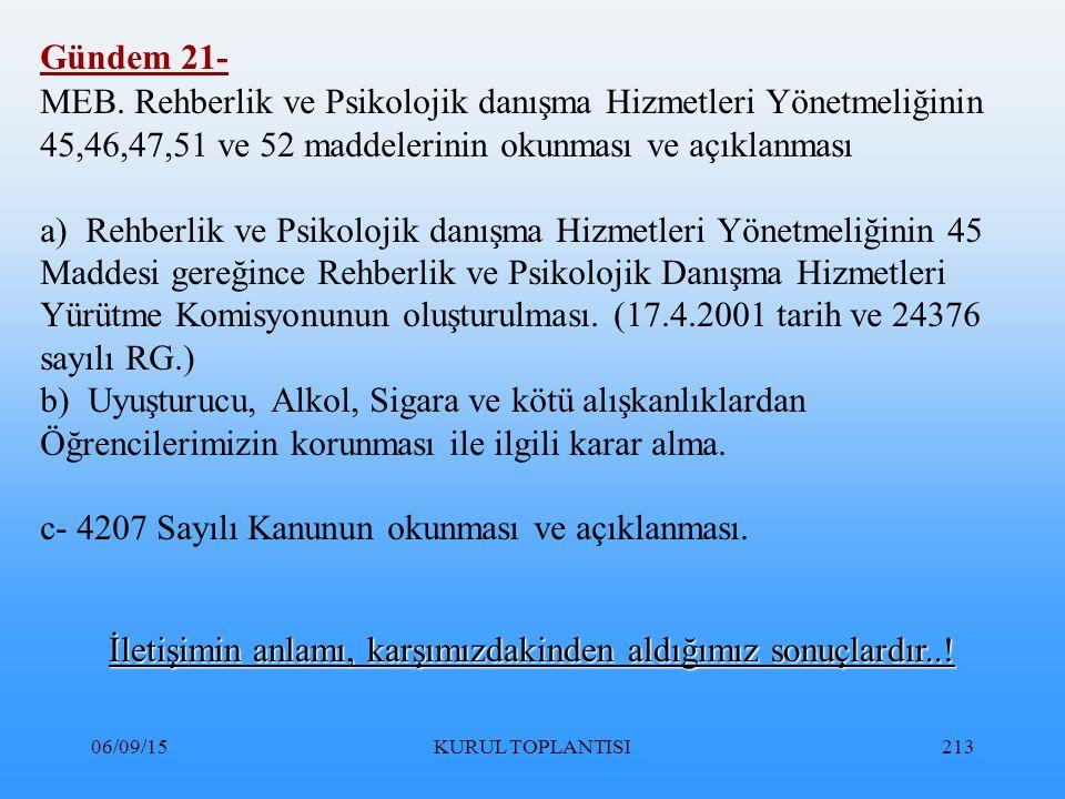 06/09/15KURUL TOPLANTISI213 Gündem 21- MEB.