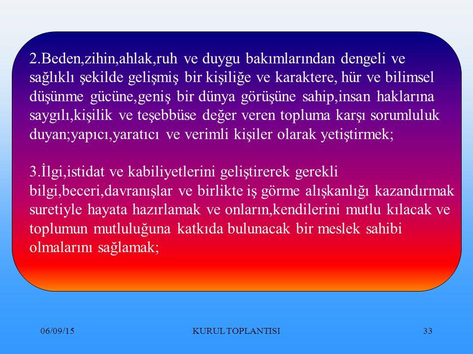 06/09/15KURUL TOPLANTISI33 2.Beden,zihin,ahlak,ruh ve duygu bakımlarından dengeli ve sağlıklı şekilde gelişmiş bir kişiliğe ve karaktere, hür ve bilimsel düşünme gücüne,geniş bir dünya görüşüne sahip,insan haklarına saygılı,kişilik ve teşebbüse değer veren topluma karşı sorumluluk duyan;yapıcı,yaratıcı ve verimli kişiler olarak yetiştirmek; 3.İlgi,istidat ve kabiliyetlerini geliştirerek gerekli bilgi,beceri,davranışlar ve birlikte iş görme alışkanlığı kazandırmak suretiyle hayata hazırlamak ve onların,kendilerini mutlu kılacak ve toplumun mutluluğuna katkıda bulunacak bir meslek sahibi olmalarını sağlamak;