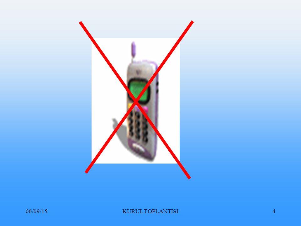 06/09/15KURUL TOPLANTISI65 E- Devlet memurluğundan çıkarma: Bir daha Devlet memurluğuna atanmamak üzere memurluktan çıkarmaktır.