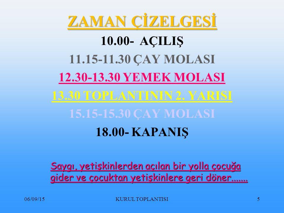 06/09/15KURUL TOPLANTISI206 d) Derslerde sürekliliği ve bütünlüğü sağlamalıdır.