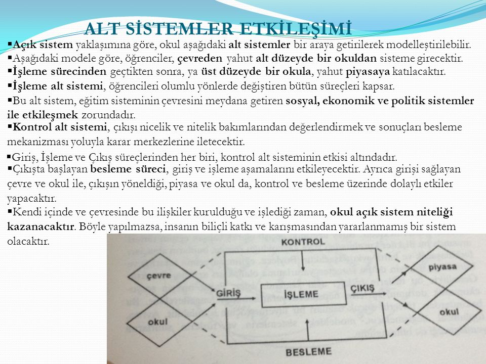  Açık sistem yaklaşımına göre, okul aşağıdaki alt sistemler bir araya getirilerek modelleştirilebilir.  Aşağıdaki modele göre, öğrenciler, çevreden