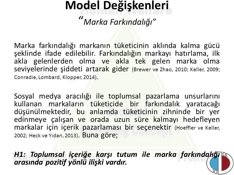 """Model Değişkenleri """" Marka Farkındalığı"""" Marka farkındalığı markanın tüketicinin aklında kalma gücü şeklinde ifade edilebilir. Farkındalığın markayı h"""