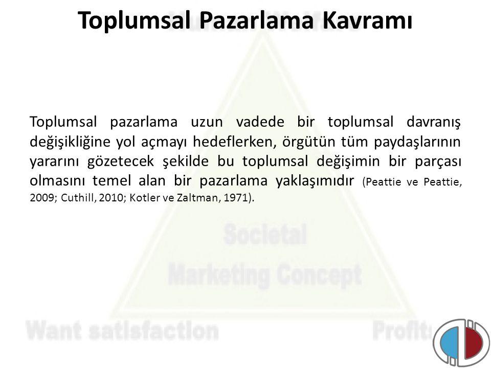 Toplumsal Pazarlama Kavramı Toplumsal pazarlama uzun vadede bir toplumsal davranış değişikliğine yol açmayı hedeflerken, örgütün tüm paydaşlarının yar