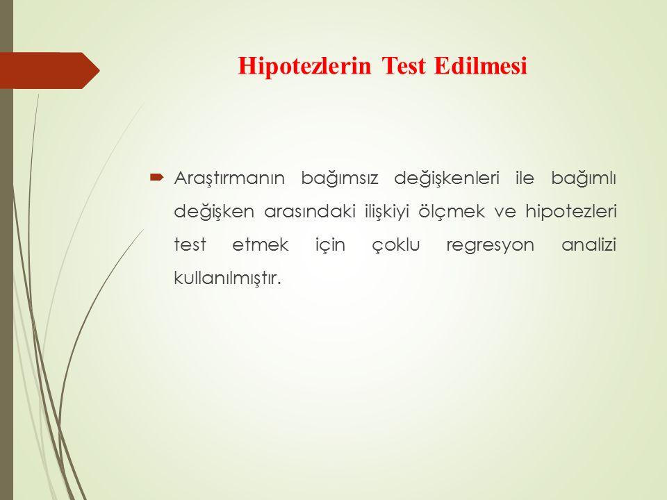 Hipotezlerin Test Edilmesi  Araştırmanın bağımsız değişkenleri ile bağımlı değişken arasındaki ilişkiyi ölçmek ve hipotezleri test etmek için çoklu regresyon analizi kullanılmıştır.