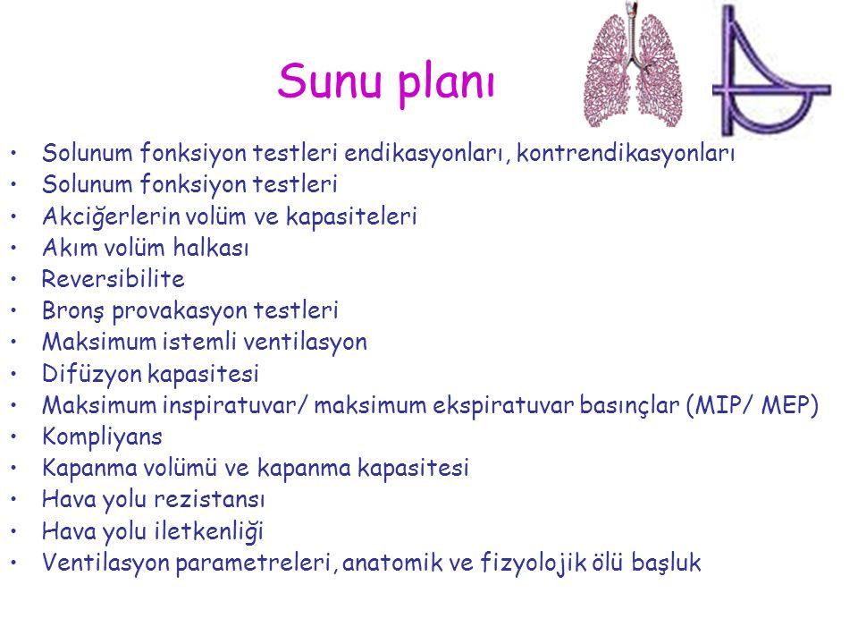 Sunu planı Solunum fonksiyon testleri endikasyonları, kontrendikasyonları Solunum fonksiyon testleri Akciğerlerin volüm ve kapasiteleri Akım volüm hal
