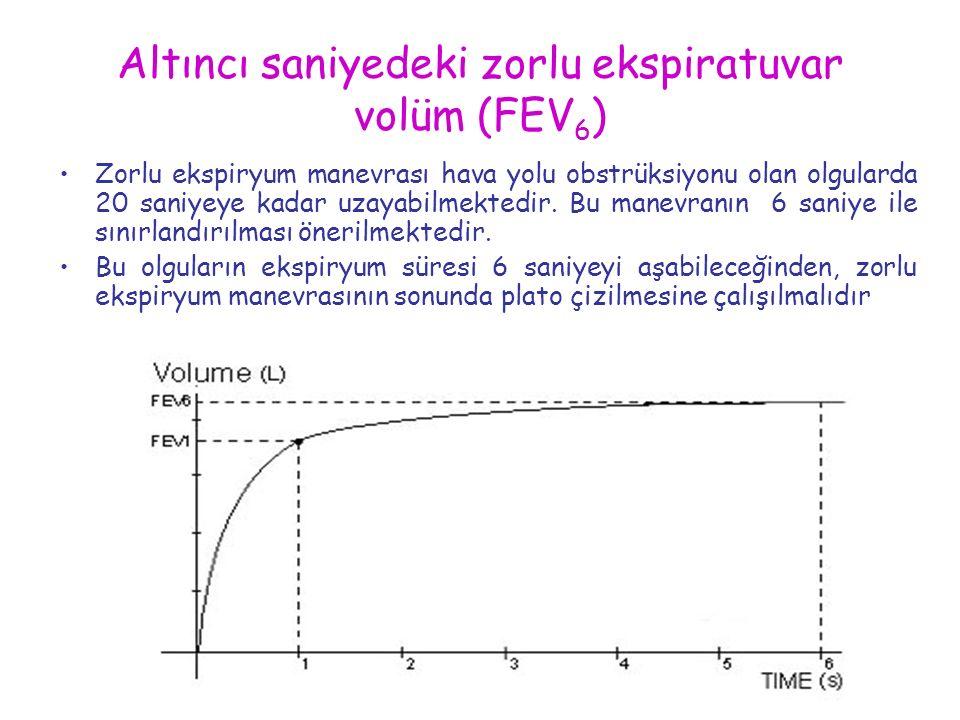 Altıncı saniyedeki zorlu ekspiratuvar volüm (FEV 6 ) Zorlu ekspiryum manevrası hava yolu obstrüksiyonu olan olgularda 20 saniyeye kadar uzayabilmekted