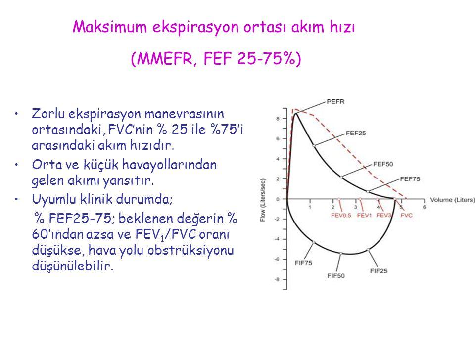 Maksimum ekspirasyon ortası akım hızı (MMEFR, FEF 25-75%) Zorlu ekspirasyon manevrasının ortasındaki, FVC'nin % 25 ile %75'i arasındaki akım hızıdır.