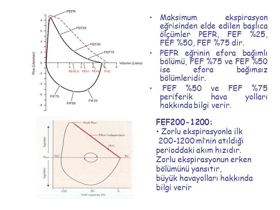 Maksimum ekspirasyon eğrisinden elde edilen başlıca ölçümler PEFR, FEF %25, FEF %50, FEF %75 dir. PEFR eğrinin efora bağımlı bölümü, FEF %75 ve FEF %5