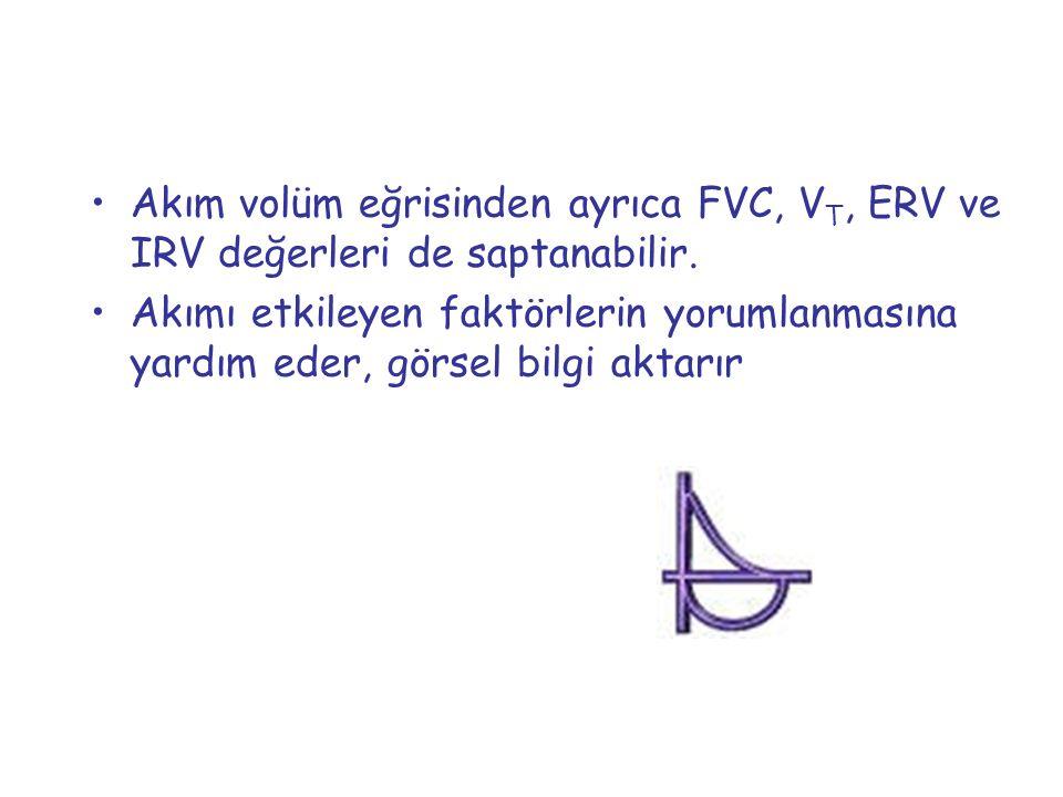 Akım volüm eğrisinden ayrıca FVC, V T, ERV ve IRV değerleri de saptanabilir. Akımı etkileyen faktörlerin yorumlanmasına yardım eder, görsel bilgi akta