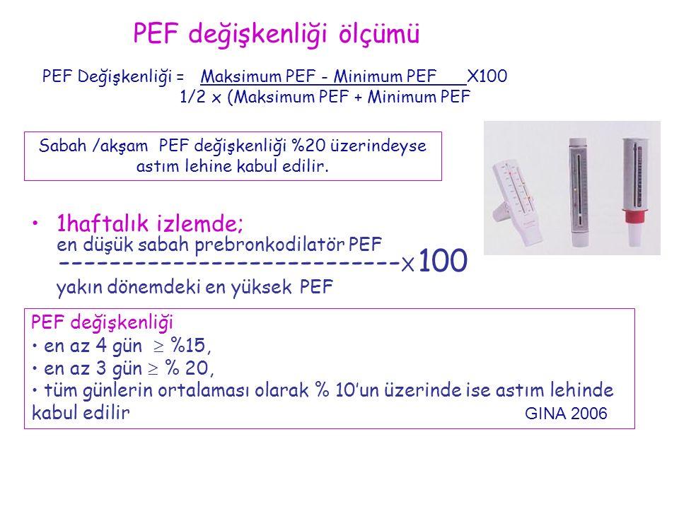 PEF Değişkenliği = Maksimum PEF - Minimum PEF X100 1/2 x (Maksimum PEF + Minimum PEF) Sabah /akşam PEF değişkenliği %20 üzerindeyse astım lehine kabul