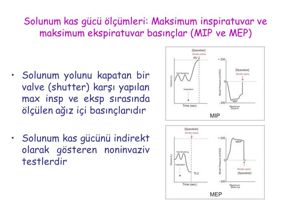 Solunum kas gücü ölçümleri: Maksimum inspiratuvar ve maksimum ekspiratuvar basınçlar (MIP ve MEP) Solunum yolunu kapatan bir valve (shutter) karşı yap