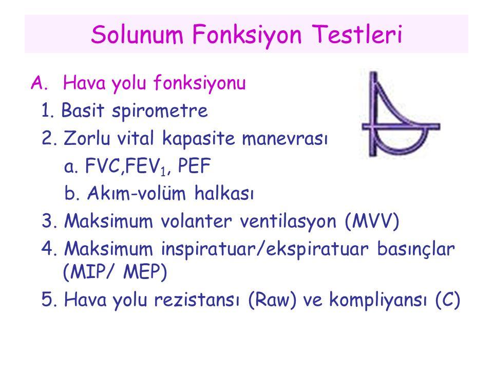 Solunum Fonksiyon Testleri A.Hava yolu fonksiyonu 1. Basit spirometre 2. Zorlu vital kapasite manevrası a. FVC,FEV 1, PEF b. Akım-volüm halkası 3. Mak