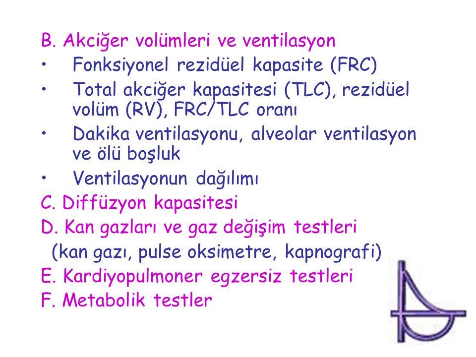 B. Akciğer volümleri ve ventilasyon Fonksiyonel rezidüel kapasite (FRC) Total akciğer kapasitesi (TLC), rezidüel volüm (RV), FRC/TLC oranı Dakika vent