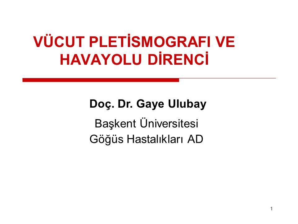1 VÜCUT PLETİSMOGRAFI VE HAVAYOLU DİRENCİ Doç. Dr. Gaye Ulubay Başkent Üniversitesi Göğüs Hastalıkları AD