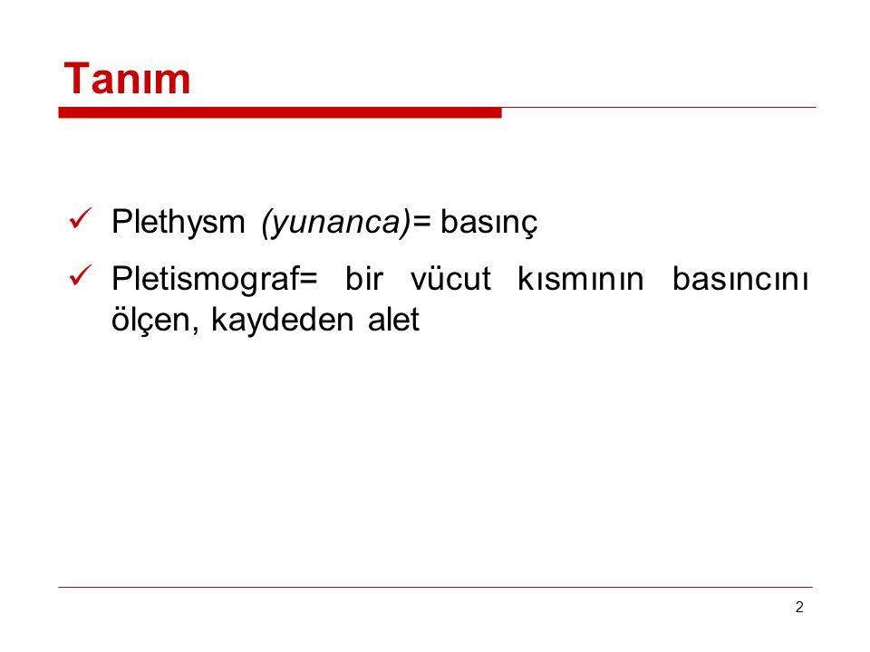 2 Tanım Plethysm (yunanca)= basınç Pletismograf= bir vücut kısmının basıncını ölçen, kaydeden alet