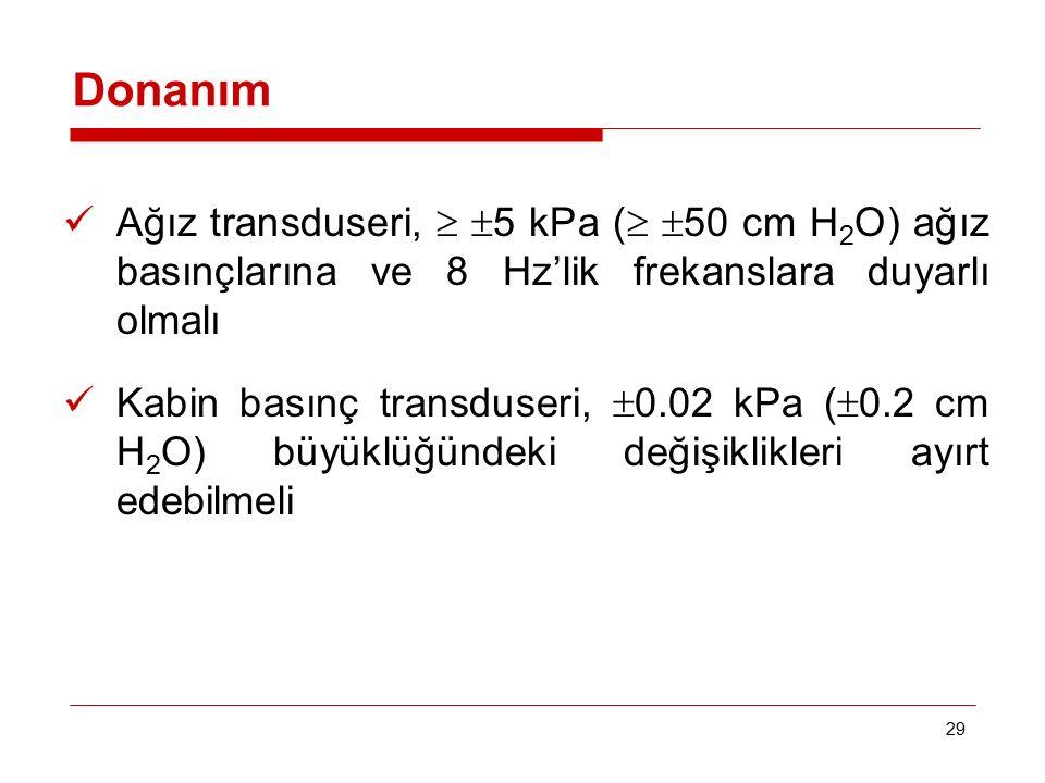 29 Ağız transduseri,   5 kPa (   50 cm H 2 O) ağız basınçlarına ve 8 Hz'lik frekanslara duyarlı olmalı Kabin basınç transduseri,  0.02 kPa (  0.