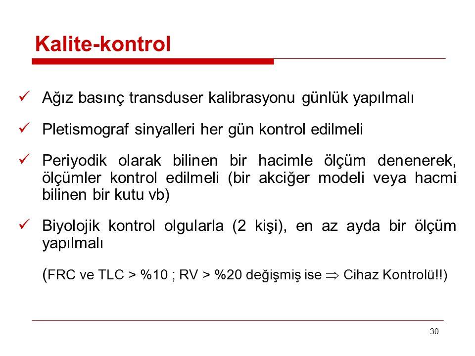 30 Kalite-kontrol Ağız basınç transduser kalibrasyonu günlük yapılmalı Pletismograf sinyalleri her gün kontrol edilmeli Periyodik olarak bilinen bir h
