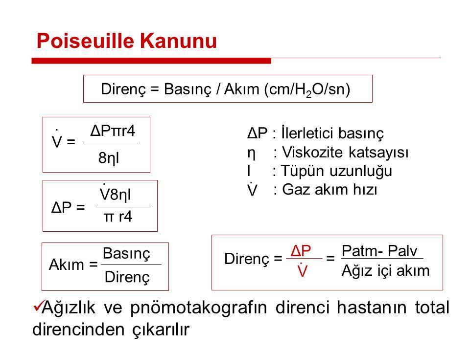 51 Direnç = Basınç / Akım (cm/H 2 O/sn) ΔP : İlerletici basınç η : Viskozite katsayısı l : Tüpün uzunluğu : Gaz akım hızı Poiseuille Kanunu V = ΔPπr4