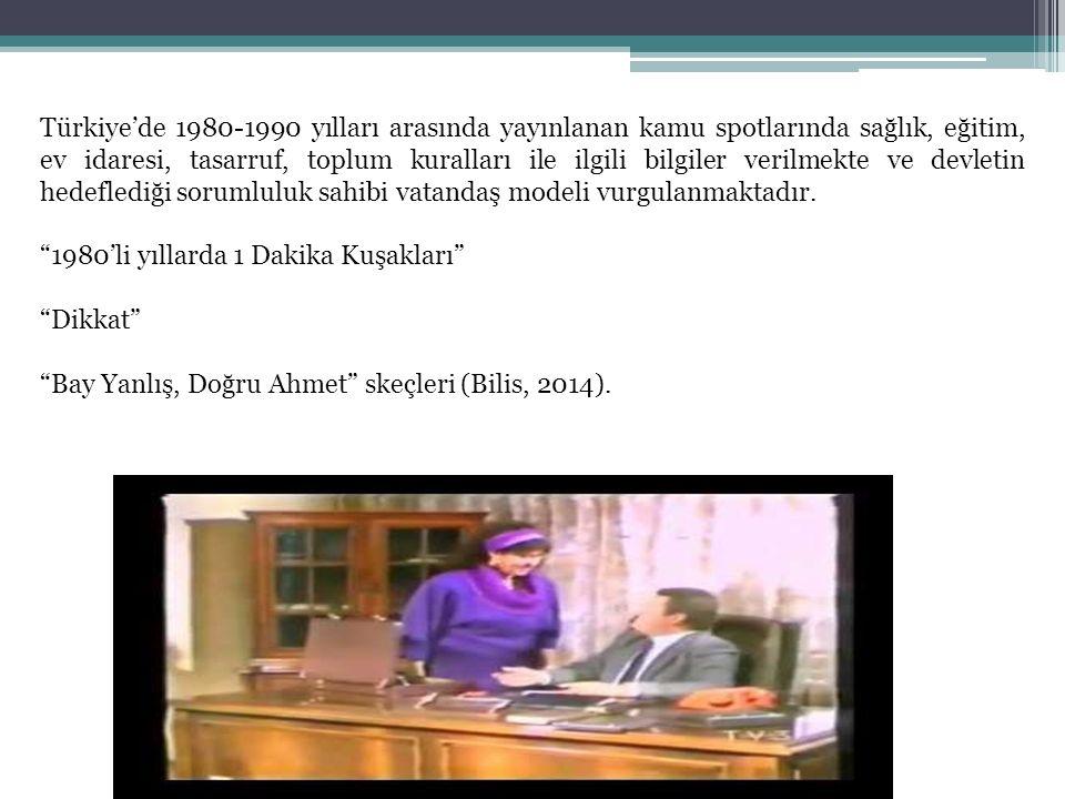 Türkiye'de 1980-1990 yılları arasında yayınlanan kamu spotlarında sağlık, eğitim, ev idaresi, tasarruf, toplum kuralları ile ilgili bilgiler verilmekt