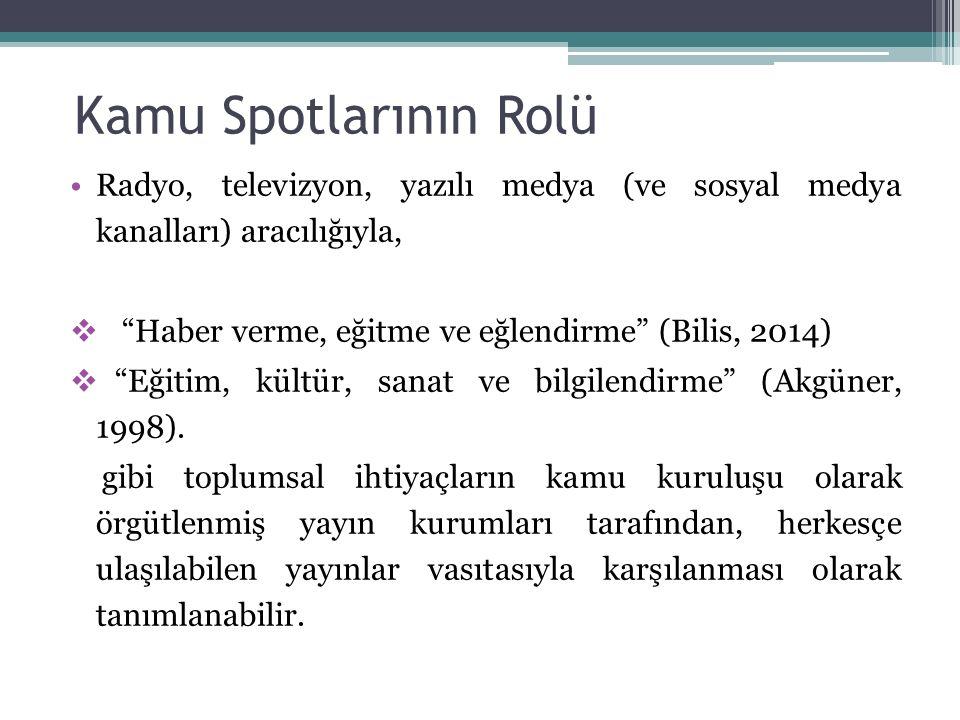 """Kamu Spotlarının Rolü Radyo, televizyon, yazılı medya (ve sosyal medya kanalları) aracılığıyla,  """"Haber verme, eğitme ve eğlendirme"""" (Bilis, 2014) """