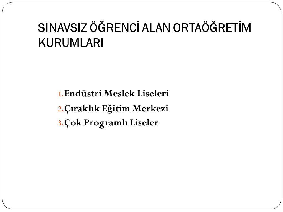 SINAVSIZ ÖĞRENCİ ALAN ORTAÖĞRETİM KURUMLARI 1. Endüstri Meslek Liseleri 2.