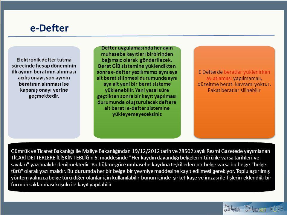 e-Defter Defter uygulamasında her ayın muhasebe kayıtları birbirinden bağımsız olarak gönderilecek.