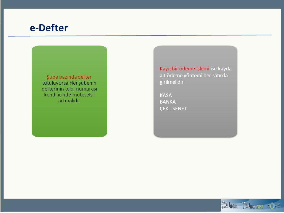 e-Defter Şube bazında defter tutuluyorsa Her şubenin defterinin tekil numarası kendi içinde müteselsil artmalıdır Kayıt bir ödeme işlemi ise kayda ait ödeme yöntemi her satırda girilmelidir KASA BANKA ÇEK - SENET Kayıt bir ödeme işlemi ise kayda ait ödeme yöntemi her satırda girilmelidir KASA BANKA ÇEK - SENET