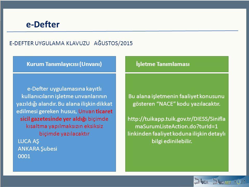 e-Defter E-DEFTER UYGULAMA KLAVUZU AĞUSTOS/2015 Kurum Tanımlayıcısı (Unvanı) e-Defter uygulamasına kayıtlı kullanıcıların işletme unvanlarının yazıldığı alandır.