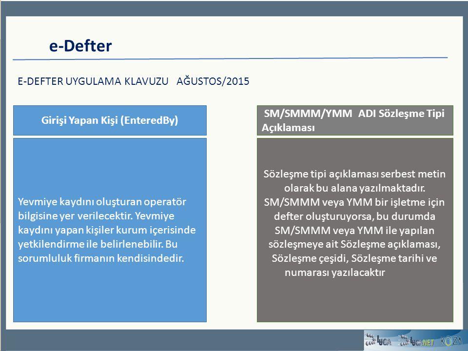 e-Defter E-DEFTER UYGULAMA KLAVUZU AĞUSTOS/2015 Girişi Yapan Kişi (EnteredBy) Yevmiye kaydını oluşturan operatör bilgisine yer verilecektir.