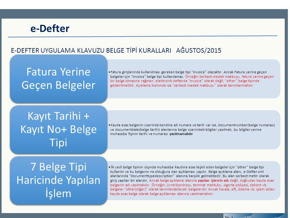 e-Defter E-DEFTER UYGULAMA KLAVUZU BELGE TİPİ KURALLARI AĞUSTOS/2015 Fatura girişlerinde kullanılması gereken belge tipi invoice olacaktır.