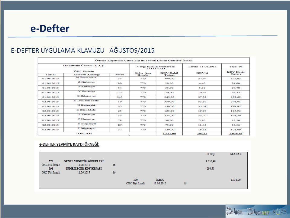 e-Defter E-DEFTER UYGULAMA KLAVUZU AĞUSTOS/2015